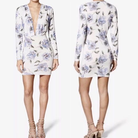 526594b94e6a New MISSGUIDED Floral Plunge Low Cut Mini Dress